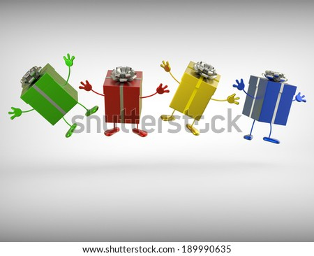 Presents Showing Giving Gifts Birthday Or Christmas - stock photo