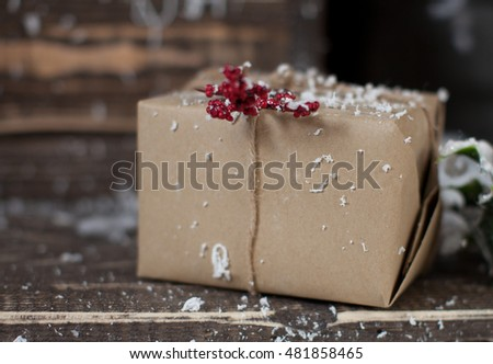 presents with snow outdoor in studio decor