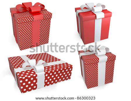 Presents with wite bow on white background - stock photo