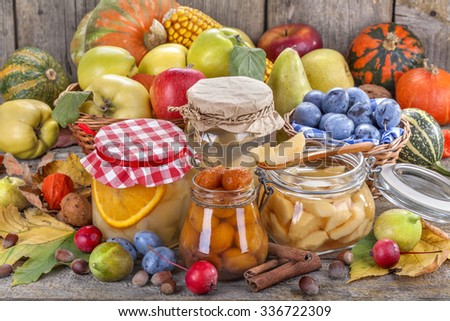 Preservation of healthy fresh fruit and vegetables - stock photo