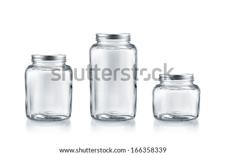 Preserve glass jar with lid collection isolated on white - stock photo
