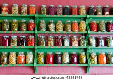 Preserved herbs and vegetables