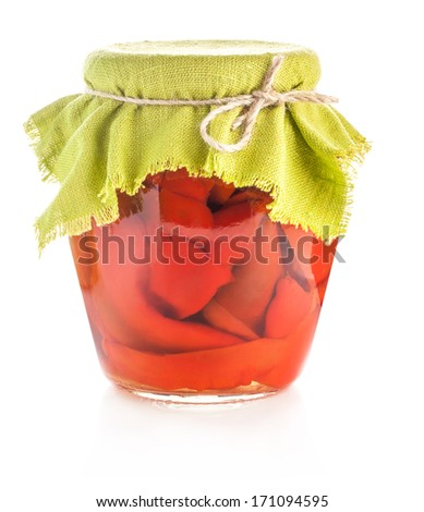 Preserved red sweet peppers isolated on white background - stock photo
