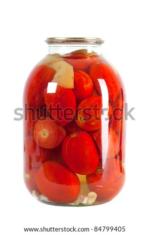 Preserved red tomatoes in a glass jar isolated on white background - stock photo