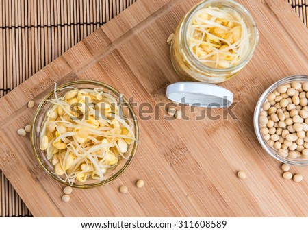 Preserved Soy Sprouts (close-up shot) on wooden background - stock photo