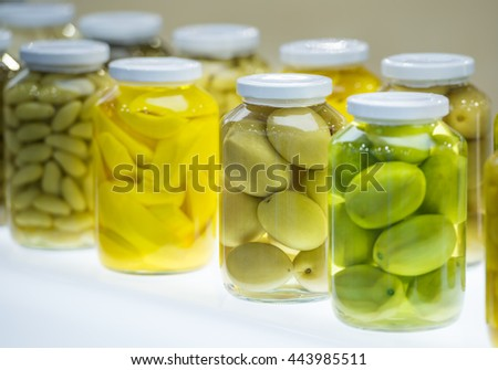 preserved vegetable  in glass jar - stock photo