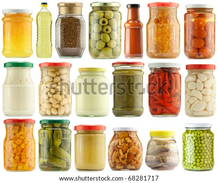 Preserved vegetables and food ingredients set - stock photo