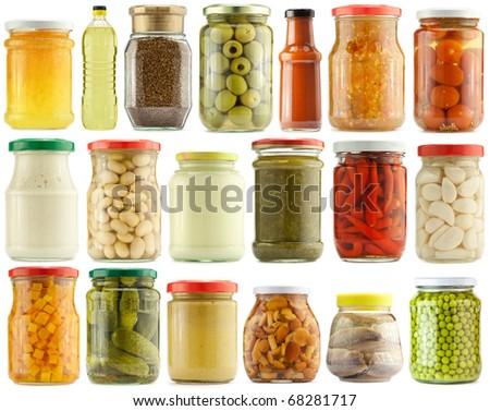 Preserved vegetables and food ingredients set - stock photo