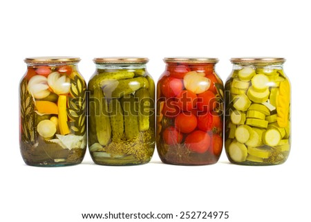 Preserved vegetables isolated in white background - stock photo