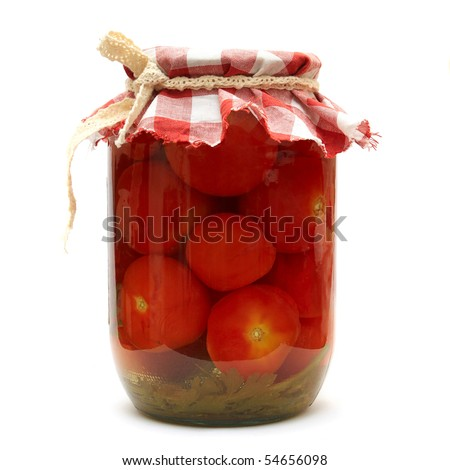 Preserves. Pickled tomato in glass isolated on white background. Series - stock photo
