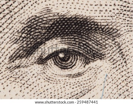 President Abraham Lincoln eye extreme macro on us 5 dollar bill, united states money closeup - stock photo
