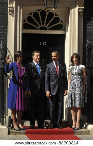 President Barak Obama and wife Michelle meet David Cameron and his wife, Samantha at No.10 Downing Street, London. 24/05/2011  Picture by: Steve Vas / Featureflash - stock photo