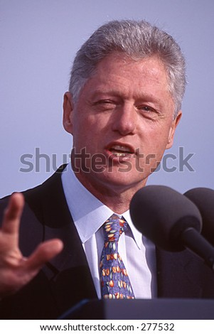 President Bill Clinton photographed during his presidency speaking in Newport, RI. - stock photo