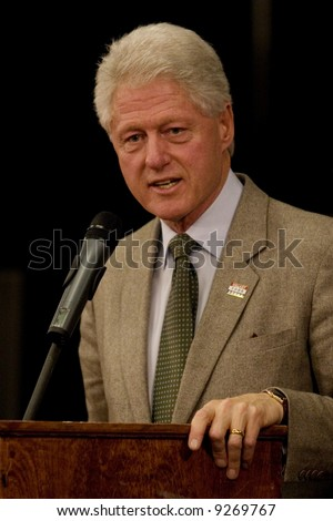 President Bill Clinton rallying for the Democratic presidential candidate Hillary Rodham Clinton. - stock photo