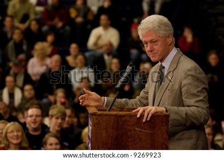 President Bill Clinton rallying for the Democratic presidential candidate Hillary Rodham Clinton.