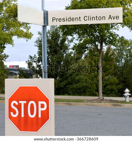 President Clinton Ave in front of the President Clinton Library in Little Rock , Arkansas. - stock photo