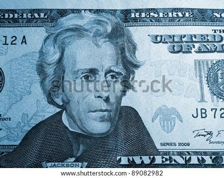 President Jackson on the twenty dollar bill. - stock photo