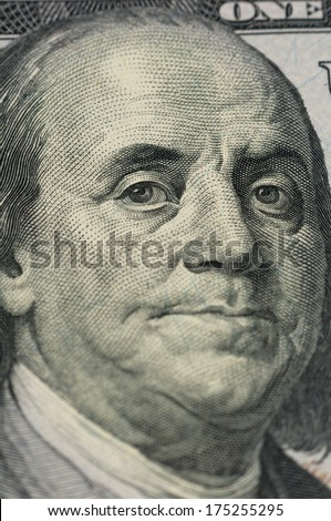 President of America Ben Franklin close-up on the new one hundred dollar bill