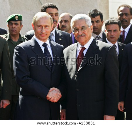 President of Russia Vladimir Putin and President of Palestinian National Authority Mahmoud Abbas - stock photo