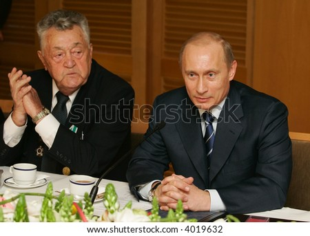 President of Russia Vladimir Putin at a meeting with veterans Great Patriotic War - stock photo