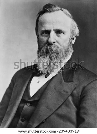 President Rutherford B. Hayes (1822-1893), elected in 1876, running against Democrat Samuel Tilden. - stock photo