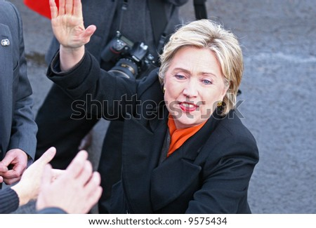 presidential candidate Hillary Clinton reaching to supporters at a democratic rally in Spokane washington