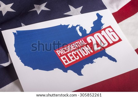 Presidential Election Vote and American Flag - stock photo