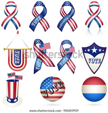 Presidential Election Vote ribbon set  and other objects. - stock photo