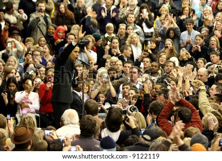 Presidential hopeful Barack Obama giving a speech at the University of Denver in Hamilton Gymnasium