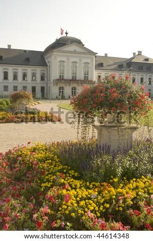 Presidential palace (Grassalkovich Palace) in Bratislava, Slovakia. Back side view. - stock photo