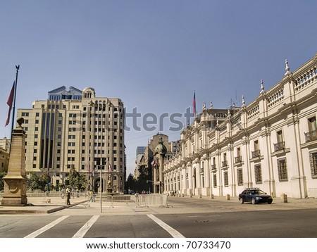 Presidential palace La Moneda in Santiago de Chile - stock photo