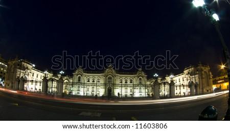 presidential palace plaza de armas night scene with movement streaks lima peru south-america - stock photo