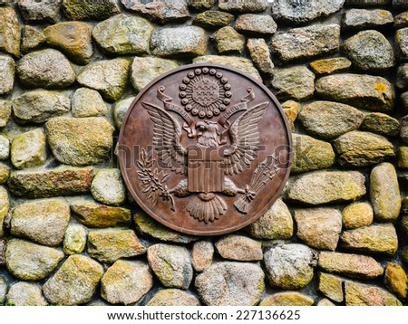 Presidential Seal at the JFK Memorial - Hyannis, MA - stock photo
