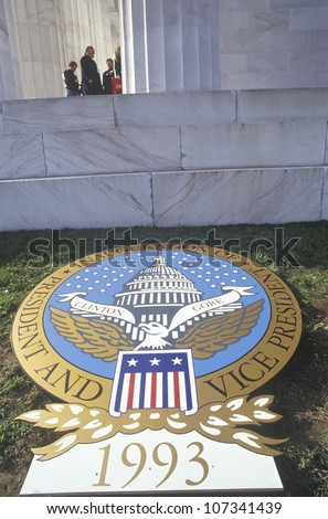 Presidential Seal bears announcement of Bill Clinton's Inauguration Day January 20, 1993 in Washington, DC - stock photo