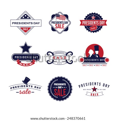 Presidents Day sale Icon Insignia Set royalty free stock illustration perfect for ads, posters, marketing, blog, website - stock photo