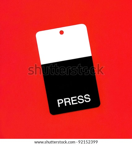 Press badge or ID pass isolated on orange background - stock photo