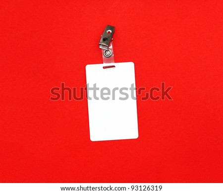 Press badge or ID pass with clip isolated on red background - stock photo