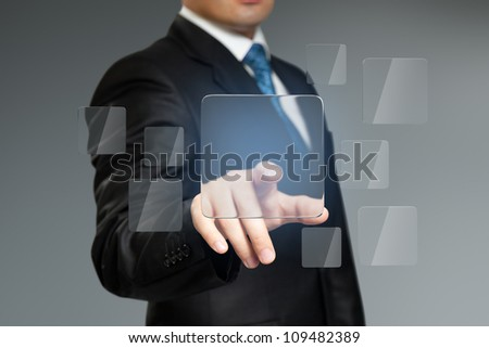 Press button touch interface. Place logo, text or product. Businessman pressing copyspace sensor square key. Future collection series. - stock photo