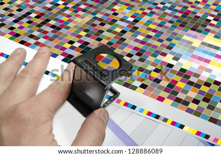 Press color management. cmyk stripe loupe control - stock photo