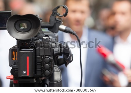 Press conference. Media interview. Spokesperson. - stock photo