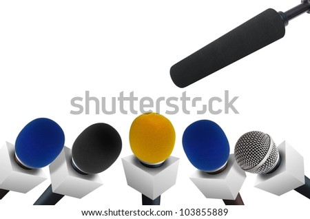 Press conference microphones - stock photo