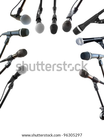 Press conference microphones isolated on white - stock photo