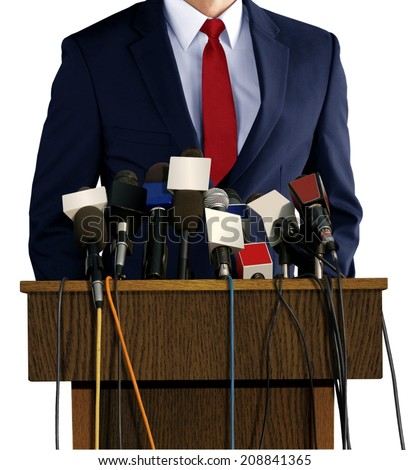 Press Conference with Spokesperson - stock photo