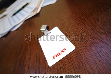 press identification card on the table , press concept , press id - stock photo