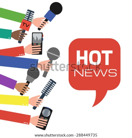 Press interview or presentation. Journalism concept illustration in flat style. Hands holding microphones and voice recorders. Hot news.  - stock photo
