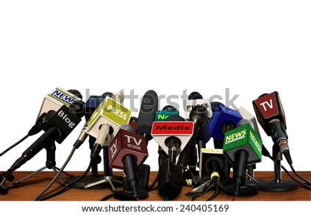 Press Media Conference Microphones  - stock photo