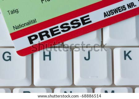 Press pass for journalists at a press conference - stock photo