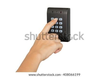 press password on security door isolated - stock photo