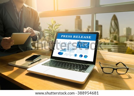 Press Release  concept, Thoughtful male person looking to the digital tablet screen, laptop screen,Silhouette and filter sun - stock photo