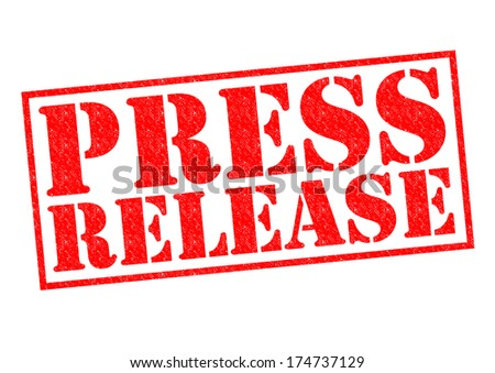 PRESS RELEASE red Rubber Stamp over a white background. - stock photo